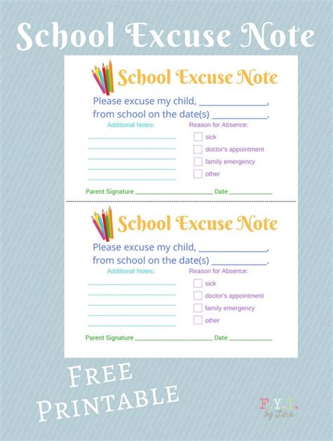 sick note template for school school excuse note free printable fyi by tina