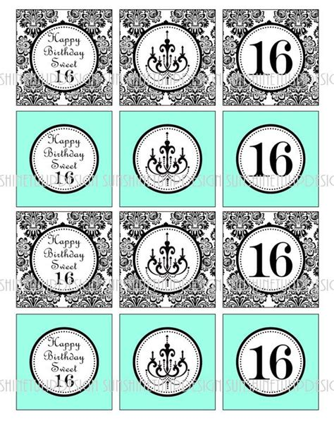 sweet labels template sweet 16 damask aqua turquoise chandelier birthday printable cupcake toppers sticker labels