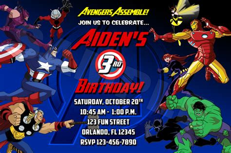 avengers birthday party invitations ideas