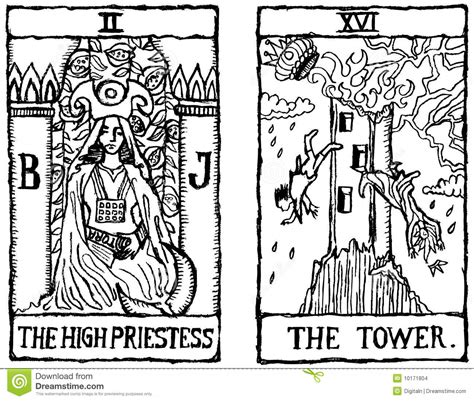 Two Tarot Cards Outline V.2 Stock Images   Image: 10171804