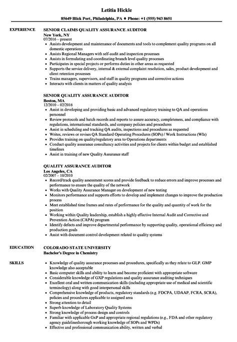 Quality Auditor Resume