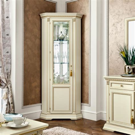 floor cabinet with glass doors classic white polished corner tall display cabinet with