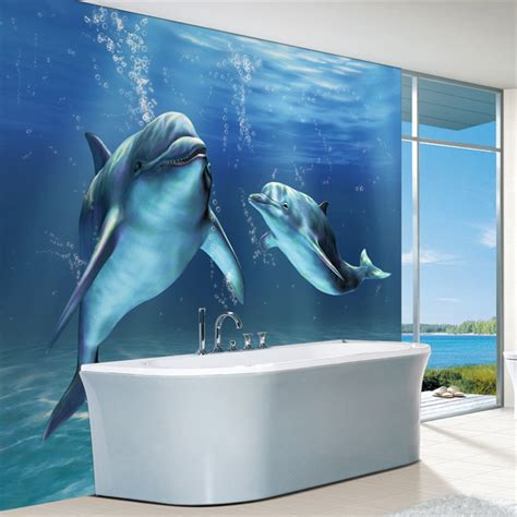 dolphin bedroom decor charms sea world wall mural 3d cute dolphin wallpaper