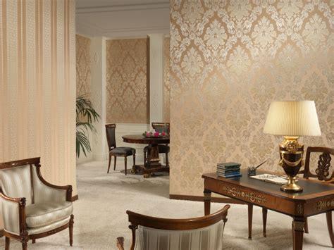 Modern elegant living room wallpaper beside the fireplace