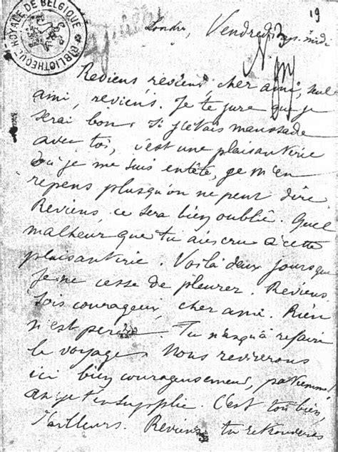 Lettre de Rimbaud à Verlaine : « Reviens, reviens, cher