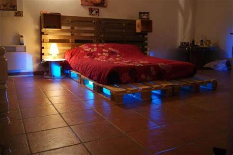 wood pallet bed frame with lights 5 diy beds made from wooden pallets 99 pallets