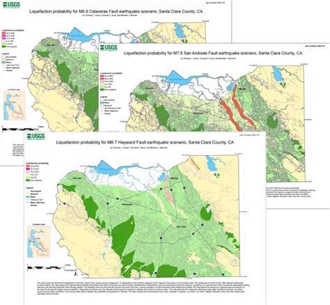 san jose earthquake map usgs liquefaction hazard maps for three earthquake scenarios
