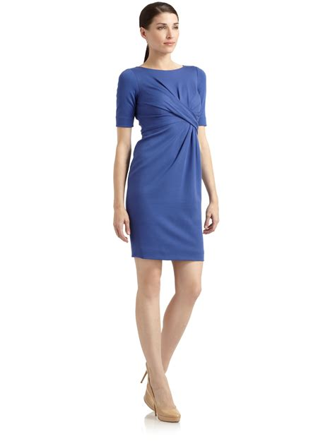 light blue pleated dress moschino pleated sheath dress in blue light blue lyst