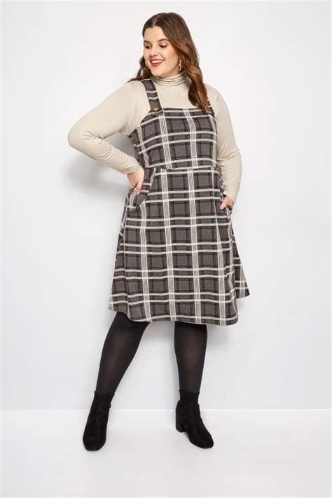 3 Up Desk Style Checks by Plus Size Charcoal Grey Check Pinafore Dress Sizes 16 To