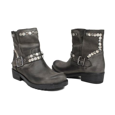 grey biker boots biker boots with studs in genuine leather gray