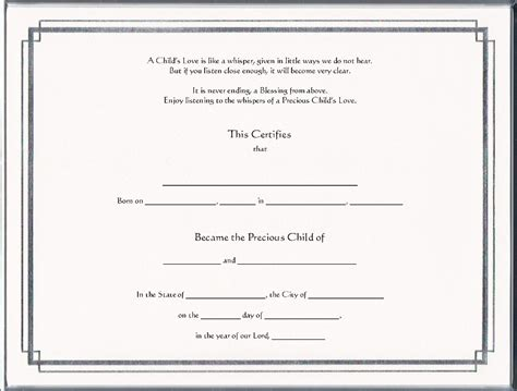 child adoption certificate template adoption certificates pg 1 foil
