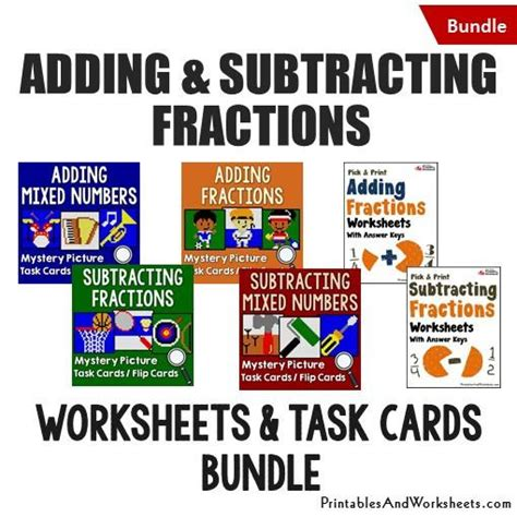 printable mixed number cards adding and subtracting fractions task cards and worksheets