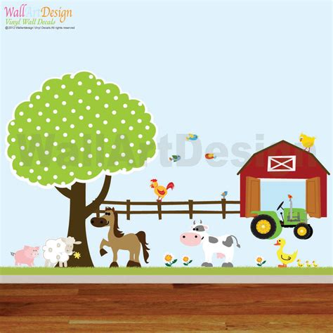 vinyl wall decals farm set tree