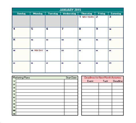 marketing schedule template 40 microsoft calendar templates free word excel