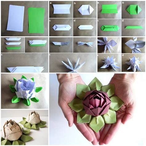 How To Make Lotus Using Paper - diy origami lotus flower