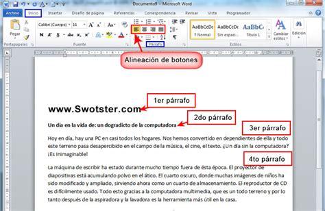 alineacion html imagenes y texto swotster word 2010 formato de p 225 rrafos y p 225 ginas 1