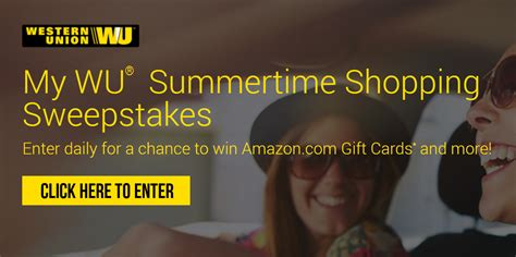 Western Union Sweepstakes - western union quot my wu quot summertime shopping sweepstakes