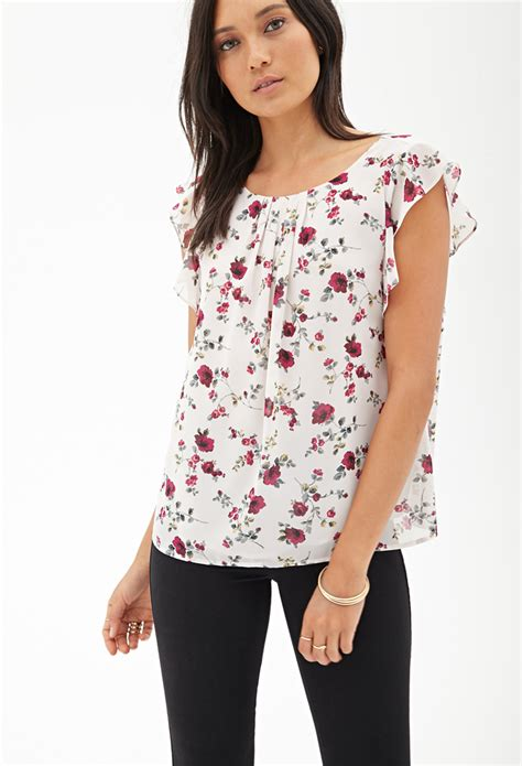Forever Blouse forever 21 ruffled floral chiffon blouse in floral burgundy lyst