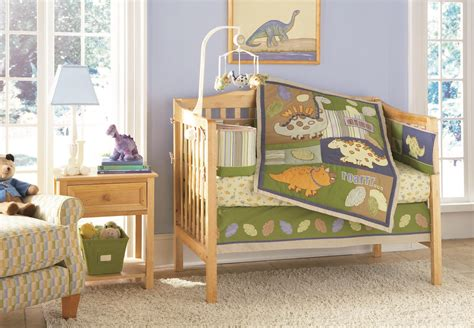Amazing Dinosaur Nursery With White Fur Rug Baby Boy Dinosaur Crib Bedding