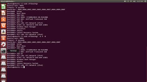 how to delete ubuntu from boot menu in uefi startup