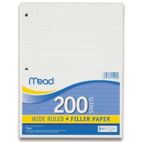 Filler Papers by Mead Filler Paper Leaf Paper Wide