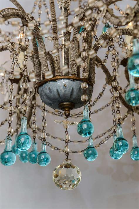 Turquoise Glass Chandelier Italian Beaded Arm Six Light Chandelier With Turquoise Glass Drops At 1stdibs