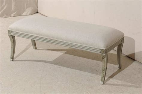 Wood Bench With Upholstered Seat Painted Wood Bench With Upholstered Seat At 1stdibs