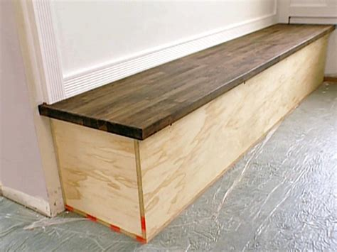 how to build a built in bench with storage built in bench with butcher block top hgtv