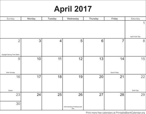 april 2017 printable blank calendar printable blank