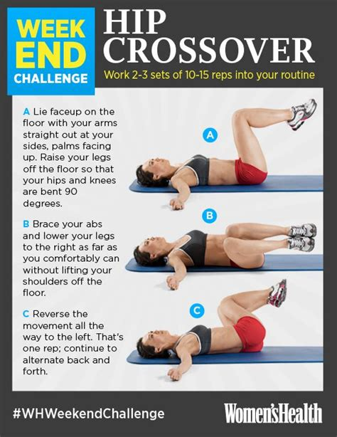 weekend challenge hip crossover health magazine exercises and health