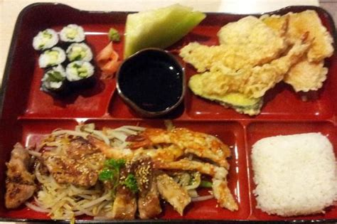 Shrimp Roll Bento Isi 10 terriyaki chicken and shrimp bento box with california rolls and vege tempura picture of sushi