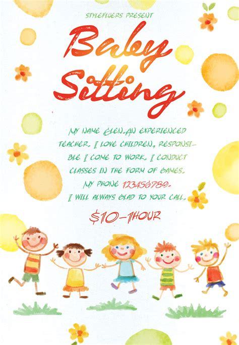 16 Babysitting Flyer Designs Exles Psd Ai Babysitting Flyer Template Free