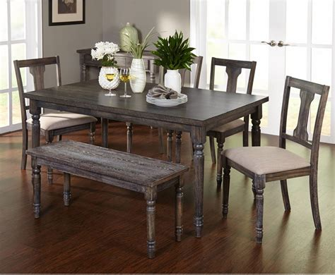 Complete Dining Room Set Weathered W And Table Bench Dining Room Table Sets With Bench