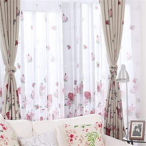 sheer flower curtains polyester pastoral printed floral sheer curtain for living