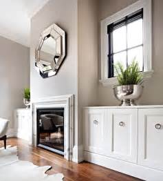 mirror fireplace transitional living room the