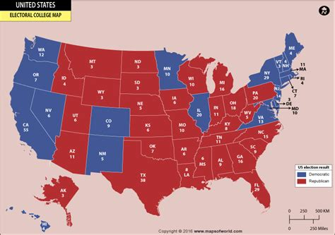 electoral college map us electoral college vote map