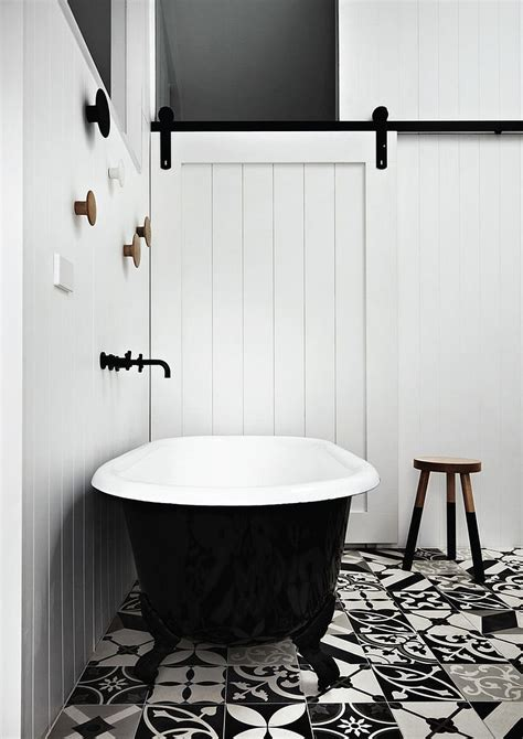Black And White Tile Floor Bathroom by Lovely Use Of Mismatched Black And White Floor Tiles In