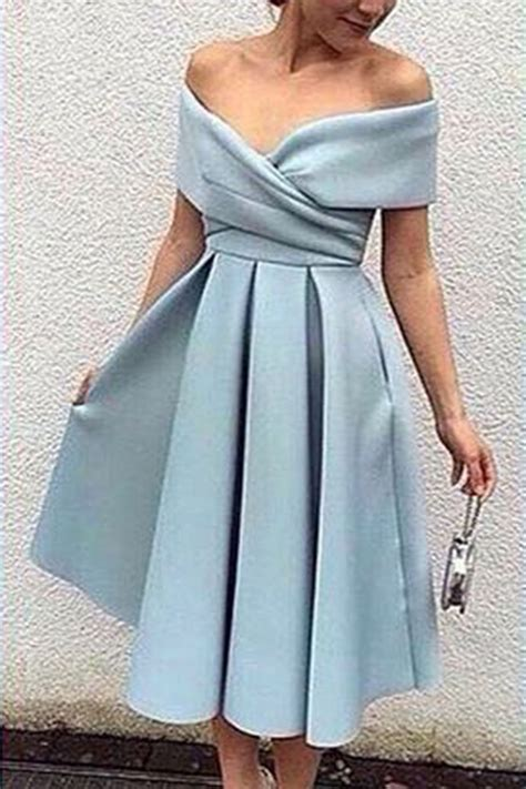 light blue knee length dress light blue chiffon shoulder a line knee length dress