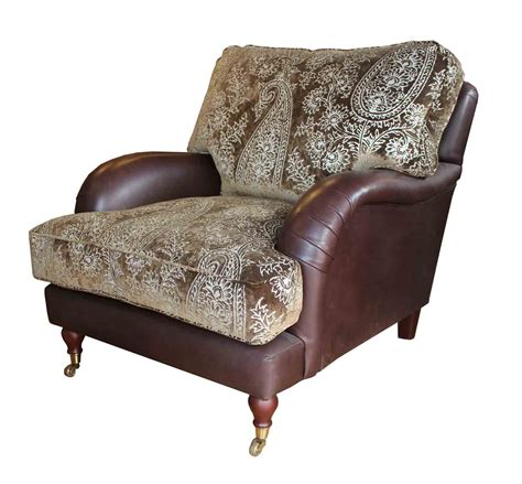 burnham cushion back chair in fabric and leather