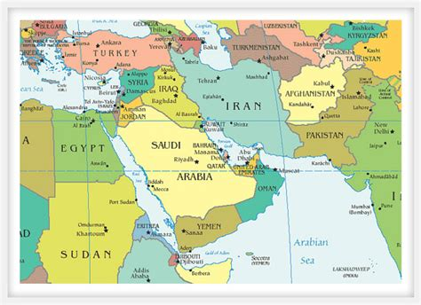 middle east map large pin middle on