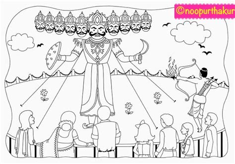 coloring pages of festivals of india yellowdoodle colouring page dussehra festival