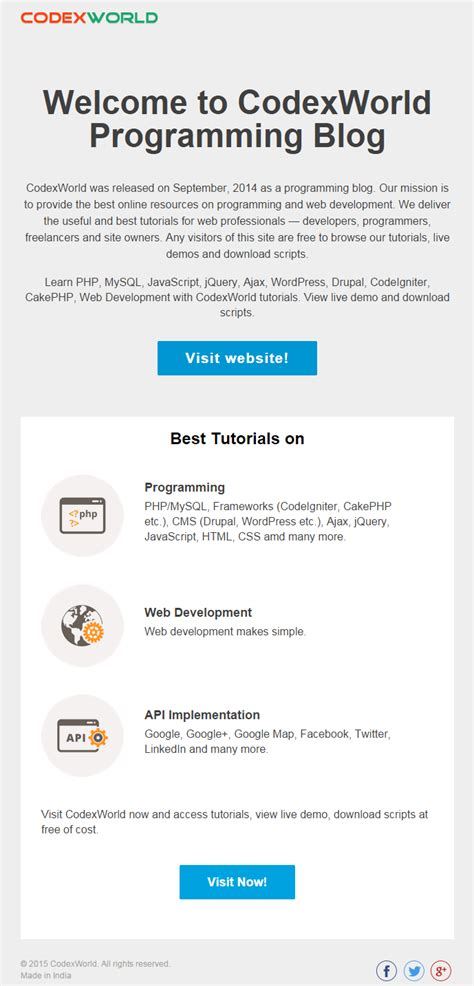 Beautiful Html Email Template By Codexworld Codexworld Beautiful Email Templates Html