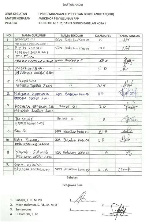 format daftar hadir guru tk contoh model laporan pkb suhaya