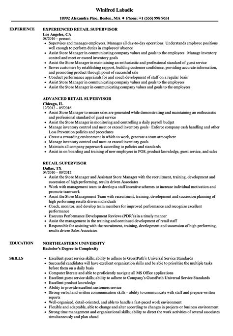 Retail Supervisor Resume by Retail Supervisor Resume Sles Velvet