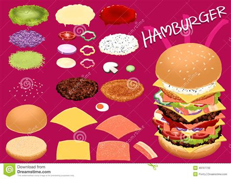 make hamburger by your design very fast food stock vector