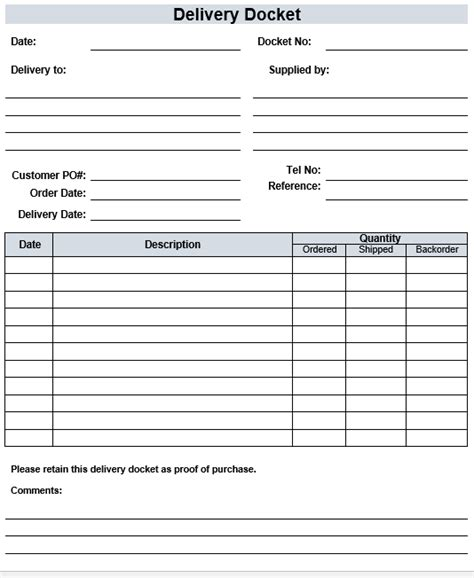 Free Delivery Docket Template Delivery Ticket Template