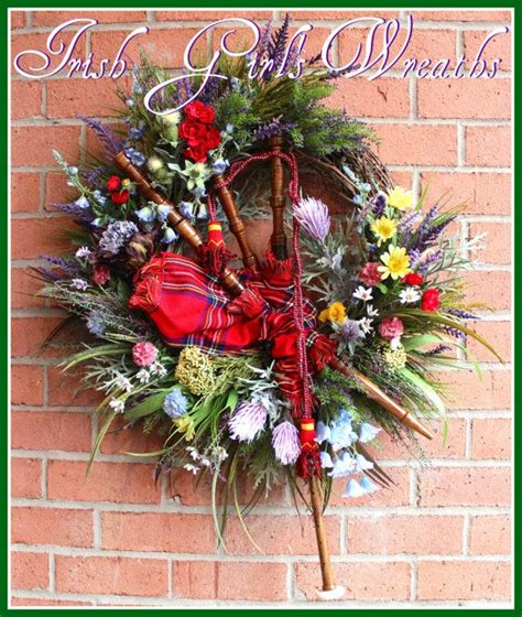 scottish highland christmas decorating ideas large scottish highland bagpipes wreath scotland thistles and wildflower wreath
