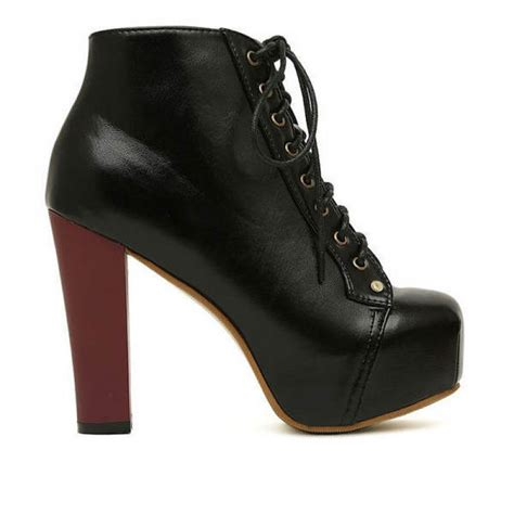 buy platform thick high heels lace up ankle boots