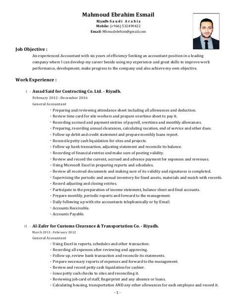 finance accounting cv exle accountant cv