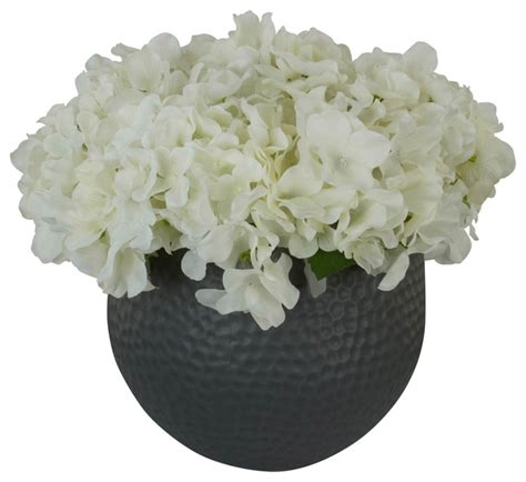 Grey Vase With Flowers Marseille Silk Floral Arrangement With Hydrangea S In A